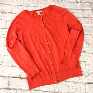LOFT - Orange Button Up Cardigan